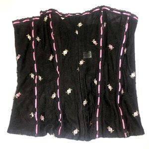 Frederick's Of Hollywood Corset Black & Pink Sz 38